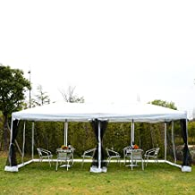 Outsunny 10x20ft Pop Up Party Tent Gazebo Wedding Canopy with 6 Removable Mesh Sidewalls Carry Bag, White