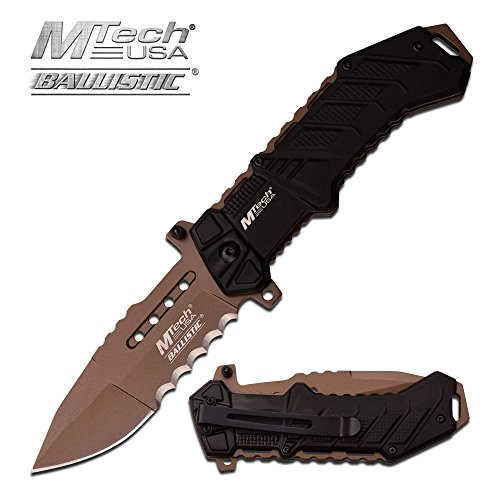 Rogue River Tactical Exclusive Mtech USA Tactical Knives Spring Assisted Folding Pocket Knife Heavy Duty Military Grade Combat with Belt Clip (Tan - Pocket Tan Tactical Knife