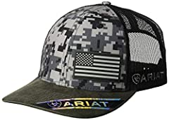 Show your American pride country style with this Ariat cap by medium and f western products. The cap has a black digital camo front with an offset USA rubber flag, and an Ariat signature logo on the side. The back is black mesh and has a 7 po...
