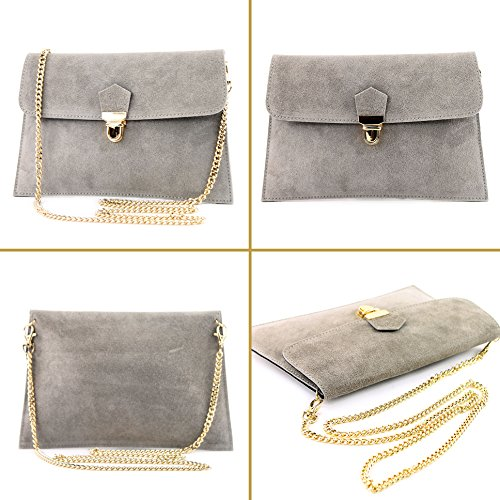 handbag Wild bag ital Modamoda T206 Bag de clutch Gray leather city t4xqUYw