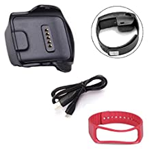 Willtoo(TM) Charging Dock+USB Cable+Wrist Band Bracelet for Samsung Galaxy Gear Fit R350 (red)