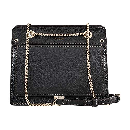 Furla Women's Like Mini Crossbody Bag with Chain, Onyx, Black, One Size