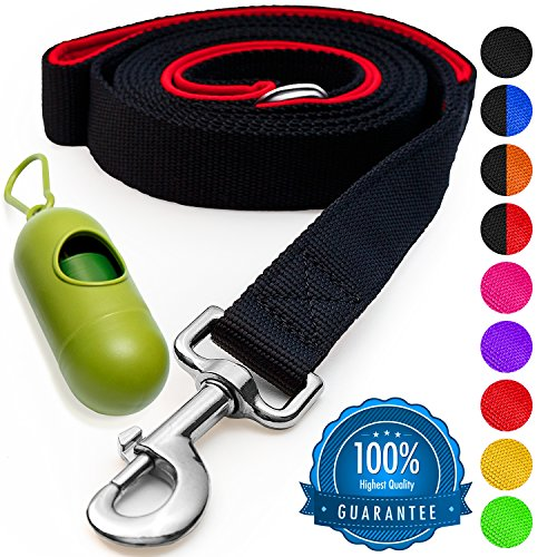 [Strong] Dog Leash with Bonus FREE Waste Bag Dispenser – Thick Padded Dual Handles - Includes Poop Bags & 100% Nylon (6ft. Long) – Comfortable Grip – Ideal for Large - Medium and Small Dogs