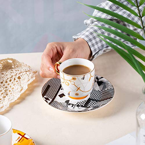 Coffee Cup Sets Luxury Arabic Style Espresso Coffee Cup Ceramic Small Tea Cup and Saucer Set of 6