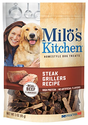 Milo's Kitchen Steak Grillers Beef Recipe with Angus Steak Dog Treats, 3-Ounce, 12-Pack
