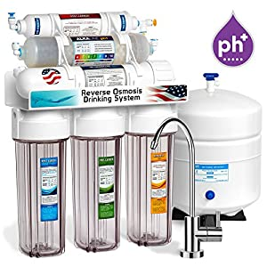 Express Water 10 Stage Alkaline Antioxidant Reverse Osmosis Home Drinking Water Filtration System (ROALK5MC) UPGRADE MODERN FAUCET