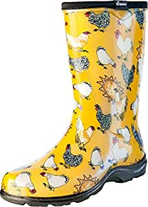 Sloggers Women's Rain and Garden Chicken Print Collection Garden Boots, Size 9, Daffodil Yellow