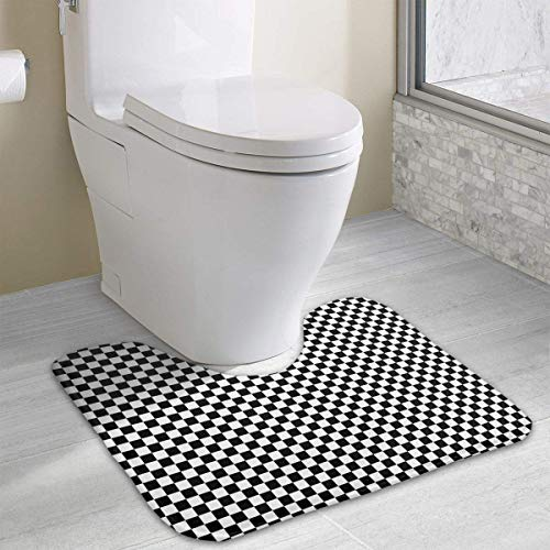 Dealbert Checkerboard Pattern Contour Bath Rugs,U-Shaped Bath Mats,Soft Memory Foam Bathroom Carpet,Nonslip Toilet Floor Mat 19.2″x15.7″