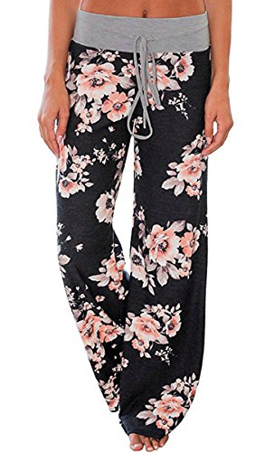 Elsofer Women's Pajama Lounge Pants Floral Print Comfy Casual Stretch Palazzo Drawstring Pj Bottoms Pants Wide Leg (Tag L (US 8), Black)