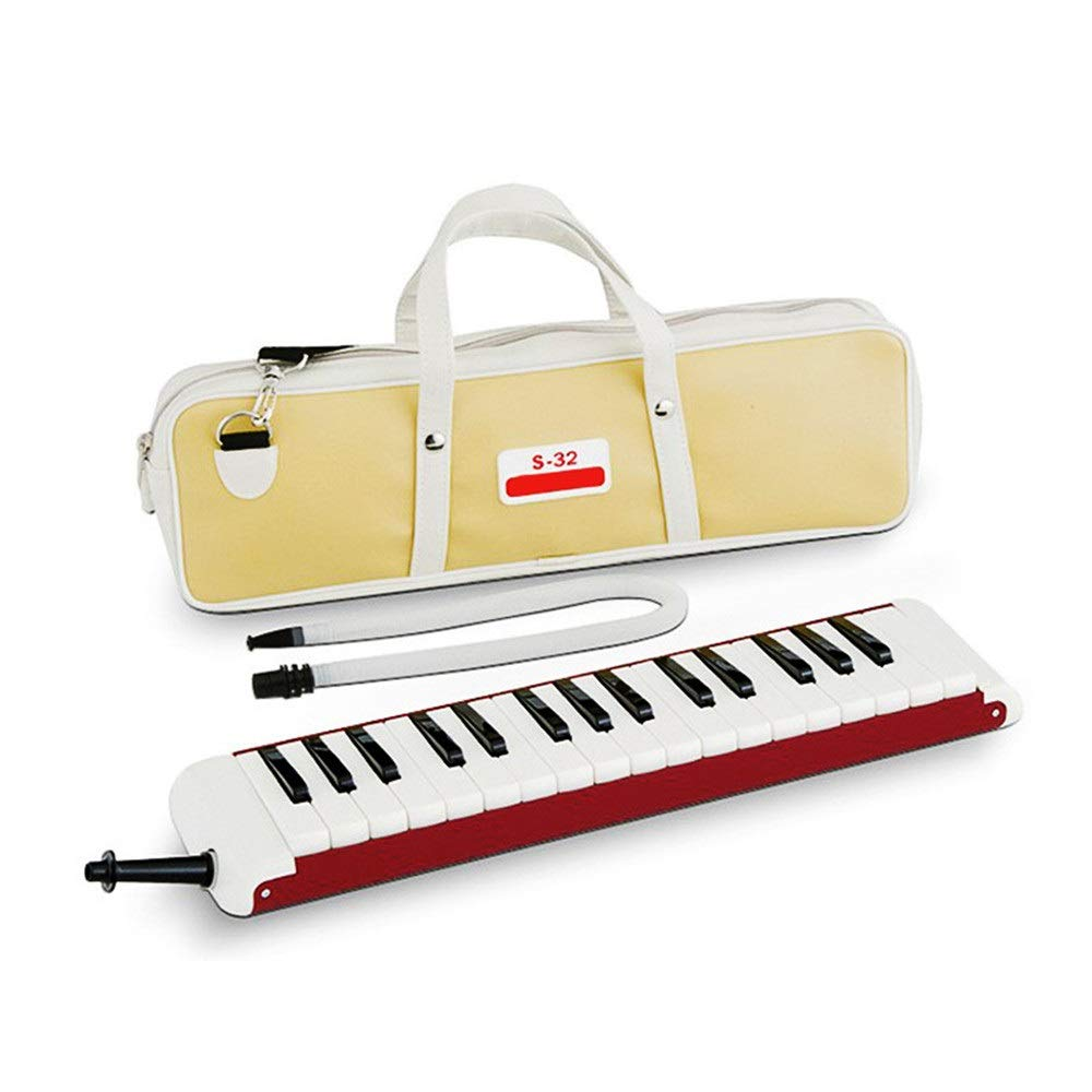 Melodica Musical Instrument High Grade 32 Keys Portable Professional Adults Melodica Musical Instrument With Carrying Bag Gift Toys For Music Lovers Beginners Kids Mouthpieces Tube Sets Red For Music