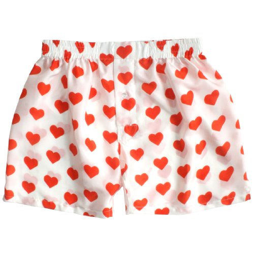 Silk Heart Boxers by ROYAL SILK - Valentine's Day - Red on White - Men's S