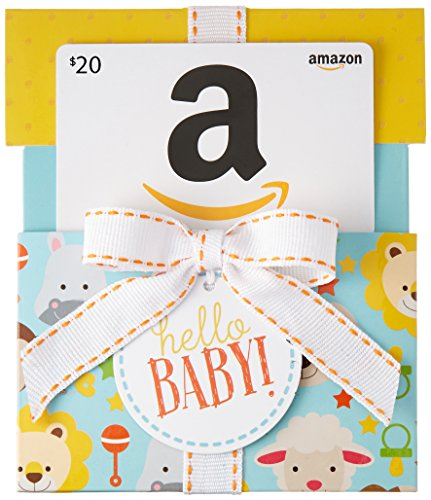 Amazon.com $20 Gift Card in a Hello Baby Reveal (Classic White Card...