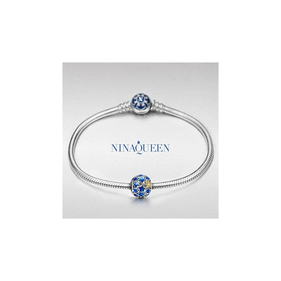 NINAQUEEN FBA ♥Starry Night Bead♥ 925 Sterling Silver Blue Enamel Charms Beads Well for Necklaces, Gifts for Women with an Exquisite Package