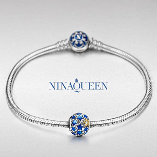 NINAQUEEN Starry Night 925 Sterling Silver Blue Enamel Charms Beads ♥Well for Necklaces♥, Gifts for Women with an Exquisite Package