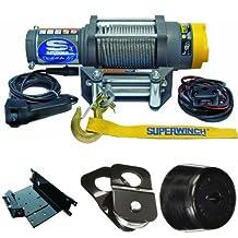 Superwinch 1145220 Terra 45 ATV & Utility Winch (4500lbs/2046kg Rating) +  Superwinch 2202863 ATV Mounting Kit, Polaris + KFI Products ATV-SB Snatch Block + KFI Products ATV-CHS Winch Cable Hook Stopper Bundle