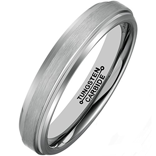 MNH Tungsten Carbide Rings for Men Women Wedding Band 4mm Comfort Fit Matte Finish Size 4-12