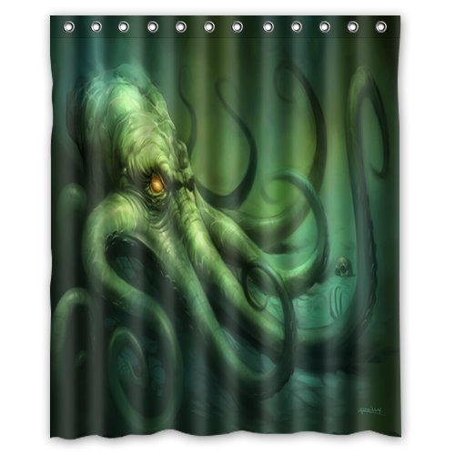 Creative 100% Polyester Waterproof Mildew Fabric Shower Curtains - Creepy Dark Evil Horror Ocean Monster Octopus Shower Curtain 60