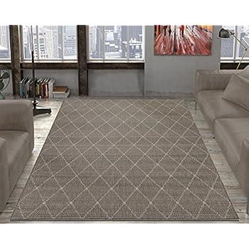 outdoor jute rug. Ottomanson Jardin Collection Contemporary Trellis Design Indoor/Outdoor Jute Backing Area Synthetic Sisal Rug, Outdoor Rug
