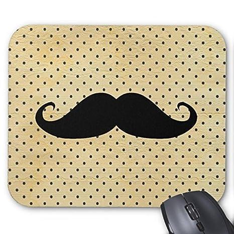 Gracioso bigote negro en color amarillo lunares cojín de ratón: Amazon.es: Hogar