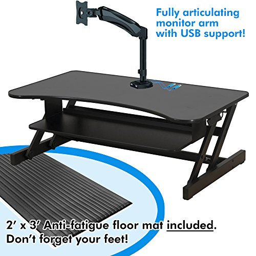 Lorell Deluxe Sit-to-Stand Monitor Riser (LLR99759), Ultimate bundle: Includes 2' x 3' Anti-fatigue Mat, Fully Articulating Monitor Arm