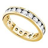 14kt Yellow Gold Womens Round Channel-set Diamond Eternity Wedding Band 2.00 Cttw