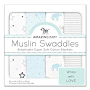 Amazing Baby Muslin Swaddle Blankets, Set of 4, Premium Cotton, Starry Night and Tiny Elephants, Pastel Blue