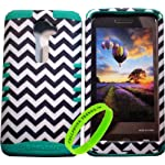 Cellphone Trendz High Impact Hybrid Rocker Case for LG G2 VS980 (Verizon only) – Teal Silicone with Hard Black and White Chevron Design