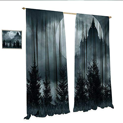 Halloween Blackout Draperies for Bedroom Magic Castle Silhouette Over Full Moon Night Fantasy Landscape Scary Forest Blackout Window Curtain W120 x L108 Grey Pale Grey.jpg]()