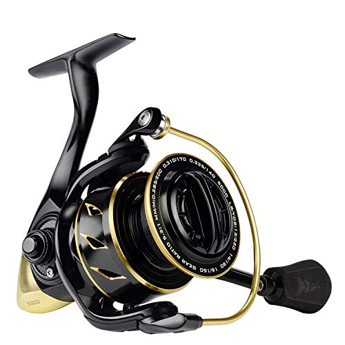 (Xiao-Jing Water Resistance Spinning Reel 18Kg Max Drag Power Fishing Reel for Bass Pike Fishing,Gold,11,1000 Series)