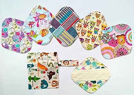 7pcs/Set 1 Wet Bag + 6pcs 8 pulgadas Bambú Gamuza de mama/almohadillas de Menstrual/Compresa reutilizable/Panties: Amazon.es: Bebé