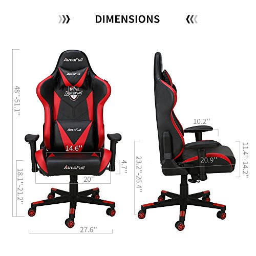 AutoFull Gaming - Adjustable Reclining PU Leather Game Chair and