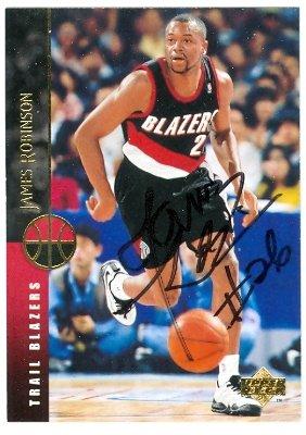 (Autograph Warehouse 43911 James Robinson Autographed Basketball Card Portland Trail Blazers 1995 Upper Deck No .200)