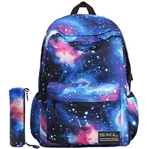 Galaxy School Backpack, SKL School Bag Student Stylish Unisex Canvas Laptop Book Bag Rucksack Daypack for Teen Boys and Girls(Blue with Pencil Bag) by SKL