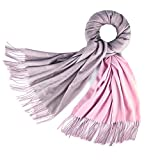 Cashmere Feel Warm 2 Tone Shawl - Oversized 78''x28'' Wrap Scarf (Grey and Pink)