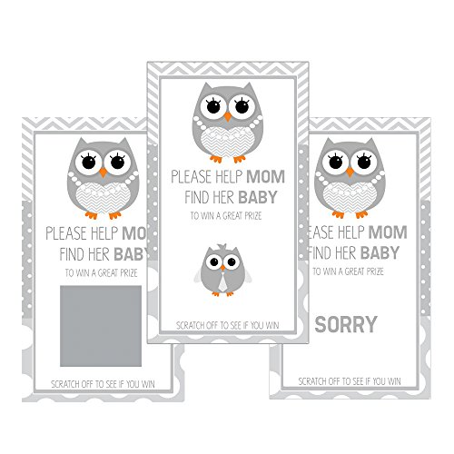Set of 12 Scratch Off Game Cards for Baby Shower Games with Gray Owl