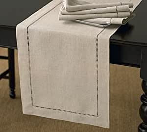 "Handmade Hemstitch Design Natural Table Runner. One Piece. 16""x72"" Rectangular."