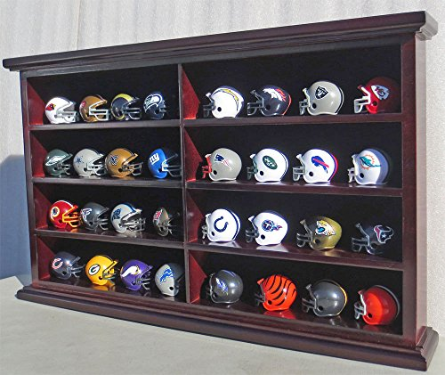 Pocket Size Mini Football Helmet Display Case Cabinet Holders Rack w/UV Protection (Mahogany Finish)