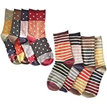 Women's Mismatched Eight Sock Gift Set - 4 Pair Striped and 4 Pair Polka Dots
