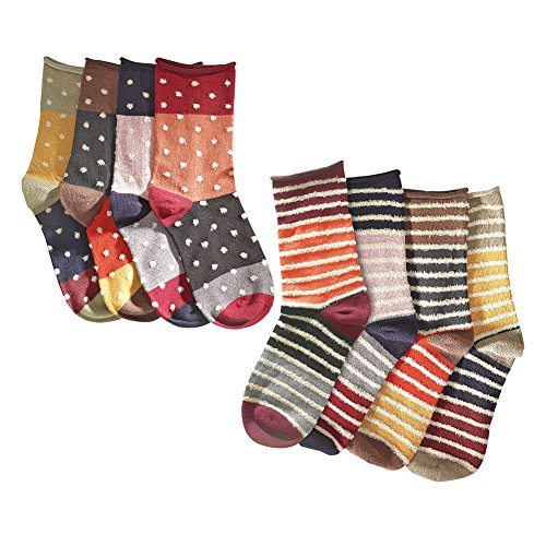 Women's Mismatched Eight Sock Gift Set - 4 Pair Striped a...