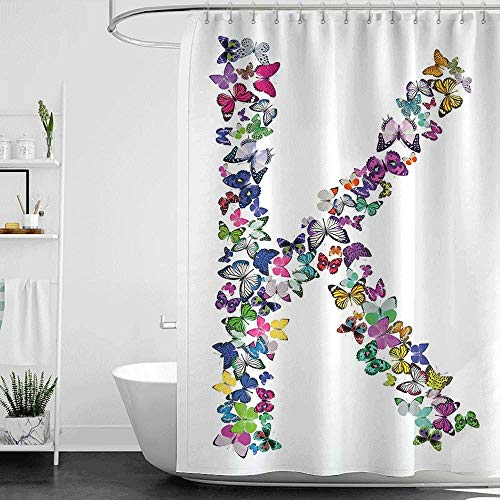homecoco Shower Curtains That Look Like Doors Letter K,Nature Inspired Typography Letters with Flying Monarch Butterflies Insects Wings,Multicolor W72 x L84,Shower Curtain for clawfoot tub