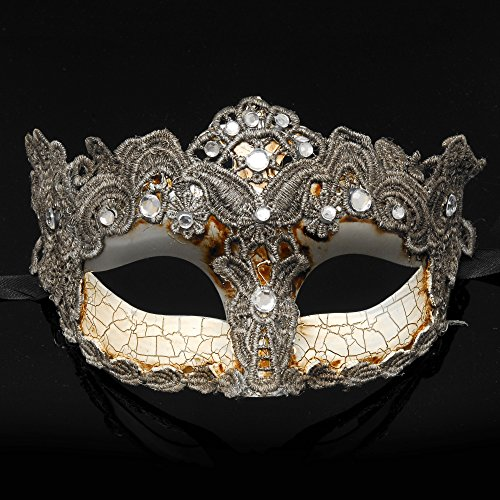 Elegant Mask With Rhinestones (4everStore Macrame Lace & Rhinestones Masquerade Mask (Silver))