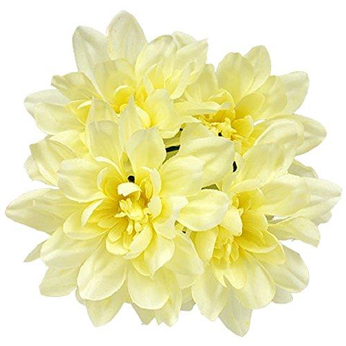 6pc Fake (Artificial) Flowers Set, 5-Stem White Dahlia Bushes, 13 in. ()