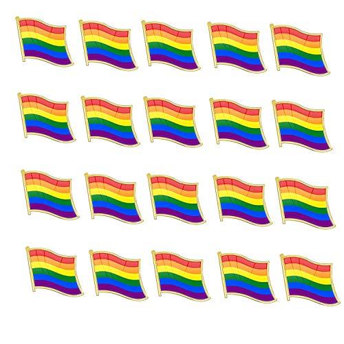 Rainbow Flag Pin - TANG SONG 20PCS Pride Pin Rainbow Gay Pride Flag LGBT Enamel Lapel Pin Pin Decoration for Clothes and Bags