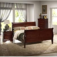 New Louis Philippe Sleigh Queen Size Bed Frame Cherry Finish