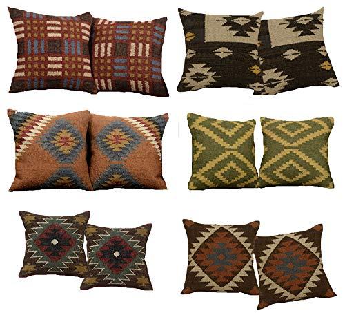 Handicraft Bazar Lote de 12 Fundas de cojín Kilim Hechas a ...