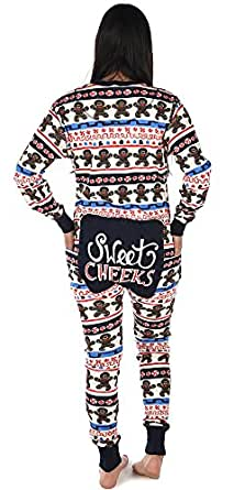 Lazy One Adult Flapjack Onesie by LazyOne Matching Christmas Family Pajamas Adult, Kid, and Infant Sizes (Small, Sweet Cheeks)