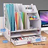 Storage Boxes Cardboard Wooden Desk Storage Box File Finishing File Rack Multi-function Diy Rack Suitable for Birthday Gifts Awards Ceremony Holiday Gifts Pink