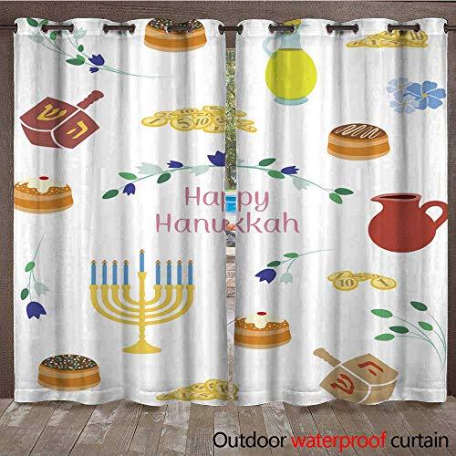 - RenteriaDecor 0utdoor Curtains for Patio Waterproof Hanukkah Post Card W84 x L108