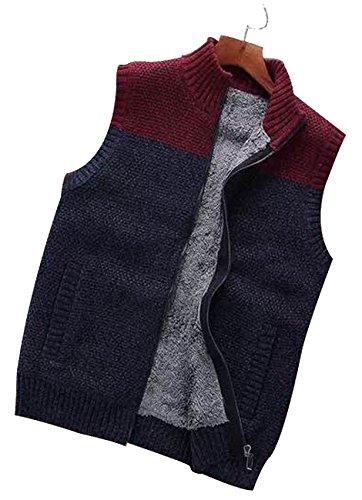 Fur Sweater Vest (fanhang Men's Cardigan Sweater Vest With Fake Fur Lining and 2 Side Pocket (Burgundy, L))