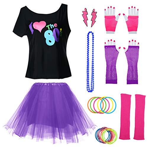 Womens I Love The 80's Disco 80s Costume Outfit Accessories (XL/XXL, Purple2)]()